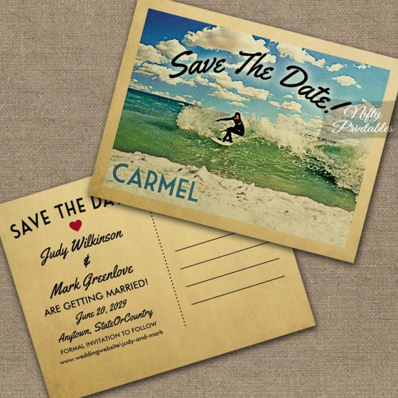 Carmel California Save The Date Surfing PRINTED