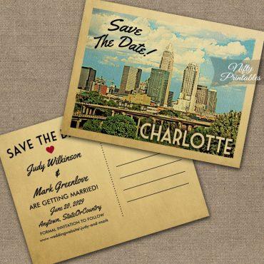 Charlotte North Carolina Save The Date PRINTED