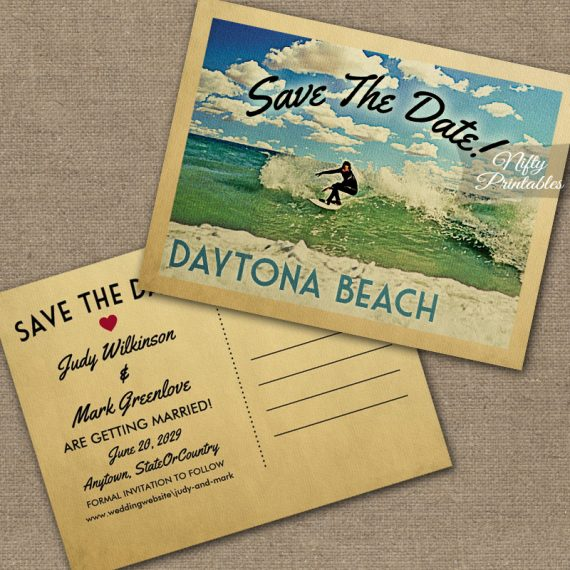 Daytona Beach Florida Save The Date Surfing PRINTED
