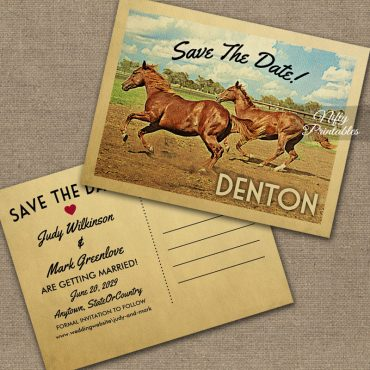 Denton Texas Save The Date Horses PRINTED