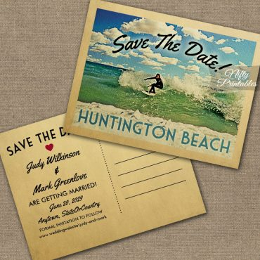 Huntington Beach California Save The Date Surfing PRINTED