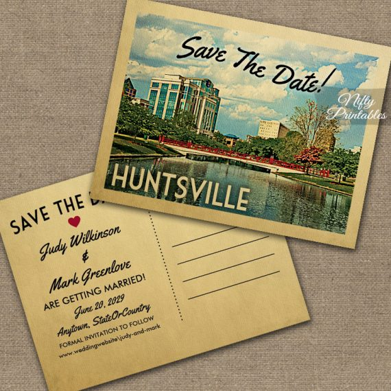 Huntsville alabama save the date printed nifty printables for Wedding invitations huntsville al