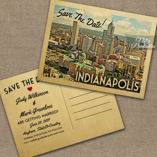 Indianapolis Indiana Save The Date PRINTED