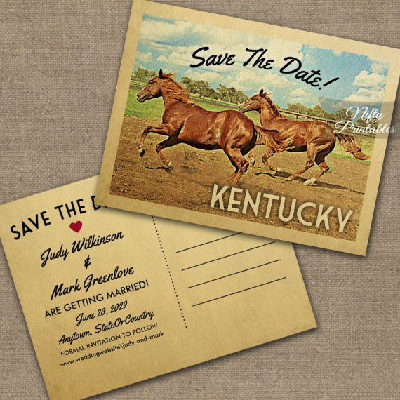 Kentucky Save The Date Horses PRINTED