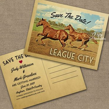 League City Texas Save The Date Horses PRINTED