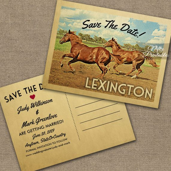 Lexington Kentucky Save The Date Horses PRINTED