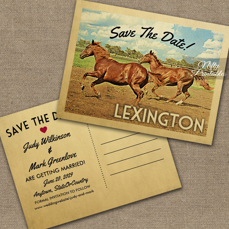 Lexington Kentucky Save The Date Horses PRINTED