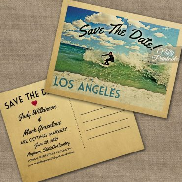 Los Angeles California Save The Date Surfing PRINTED