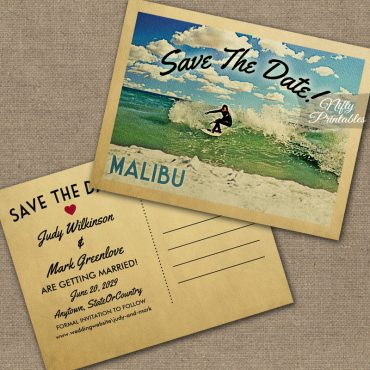 Malibu California Save The Date Surfing PRINTED