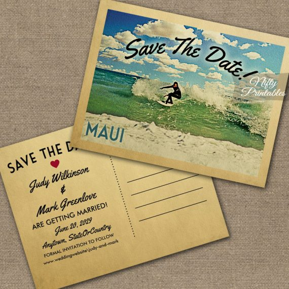 Maui Hawaii Save The Date Surfing PRINTED
