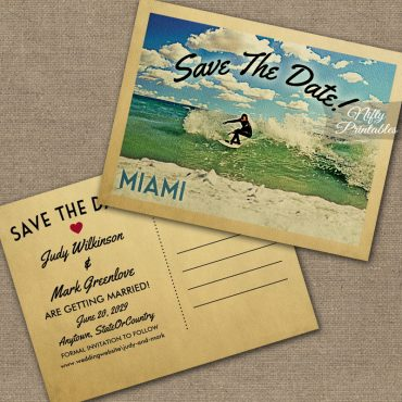 Miami Florida Save The Date Surfing PRINTED