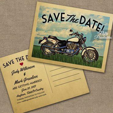 Motorcycle Biker Save The Date PRINTED