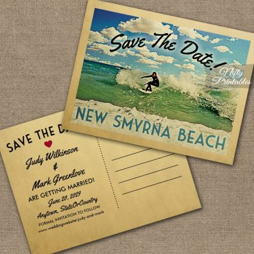 New Smyrna Beach Florida Save The Date Surfing PRINTED