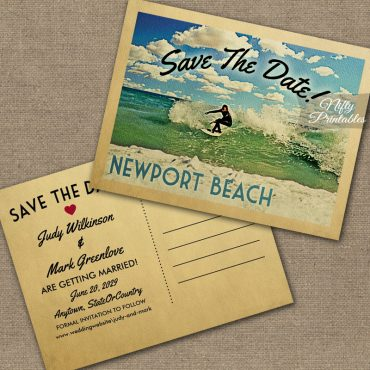 Newport Beach California Save The Date Surfing PRINTED