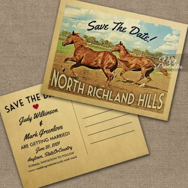 North Richland Hills Texas Save The Date Horses PRINTED
