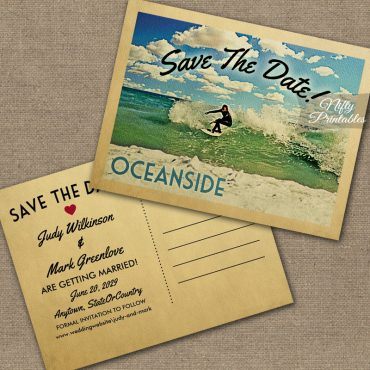 Oceanside California Save The Date Surfing PRINTED