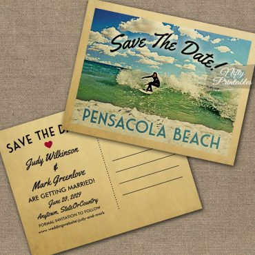 Pensacola Beach Florida Save The Date Surfing PRINTED