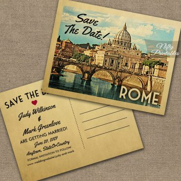 Rome Italy Save The Date PRINTED