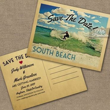 South Beach Miami Florida Save The Date Surfing PRINTED
