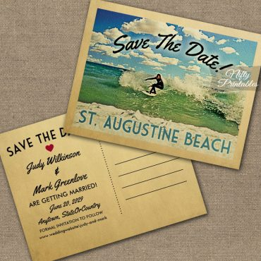 St Augustine Florida Save The Date Surfing PRINTED