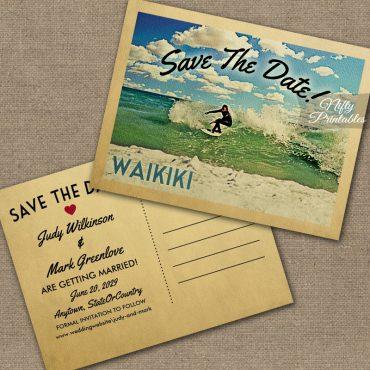 Waikiki Hawaii Save The Date Surfing PRINTED