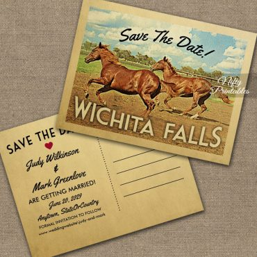Wichita Falls Texas Save The Date Horses PRINTED