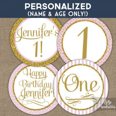 Pink Gold Personalized Childs Birthday Cupcake Toppers