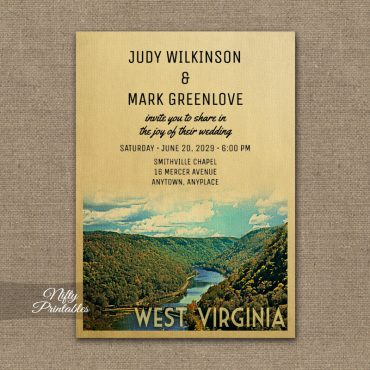 West Virginia Wedding Invitation PRINTED