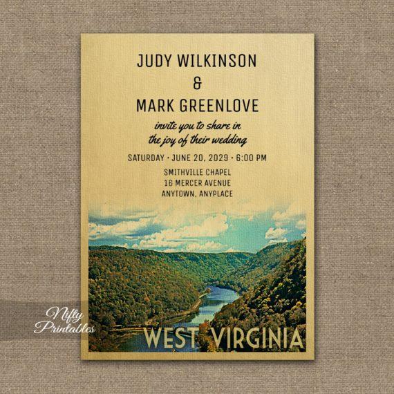 West Virginia Wedding Invitation PRINTED