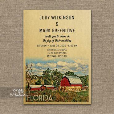 Florida Wedding Invitation Country Farm Barn PRINTED