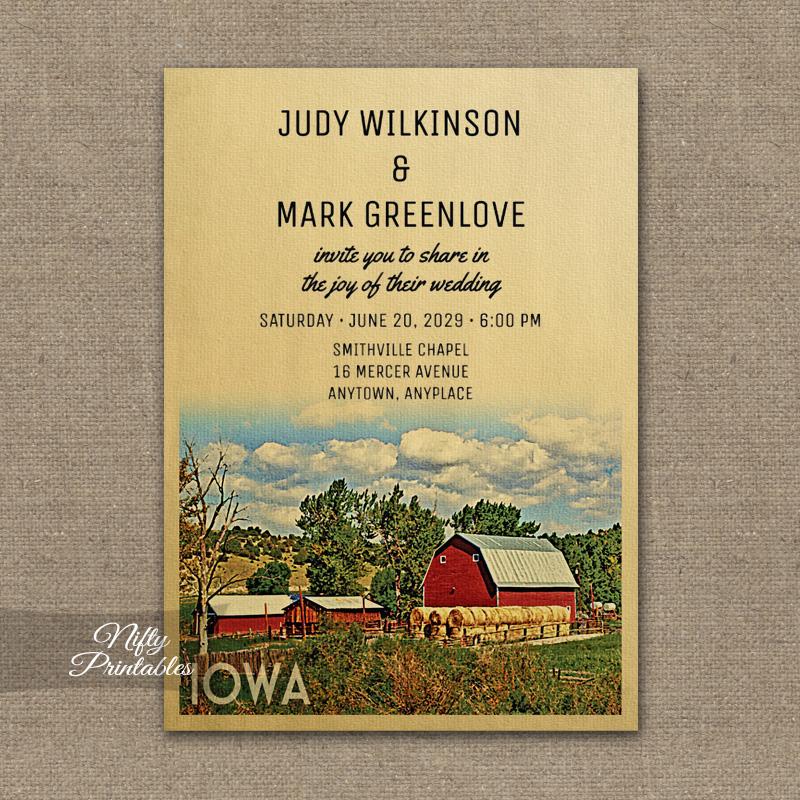 Iowa Wedding Invitation Country Farm Barn PRINTED