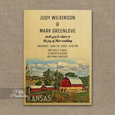 Kansas Wedding Invitation Country Farm Barn PRINTED