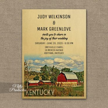 Kentucky Wedding Invitation Country Farm Barn PRINTED
