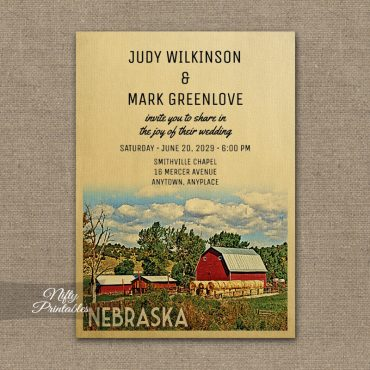 Nebraska Wedding Invitation Country Farm Barn PRINTED