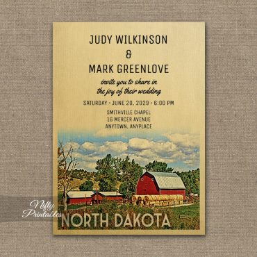 North Dakota Wedding Invitation Country Farm Barn PRINTED