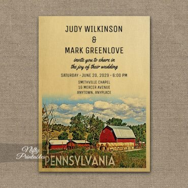 Pennsylvania Wedding Invitation Country Farm Barn PRINTED