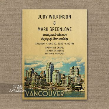Vancouver Wedding Invitation PRINTED