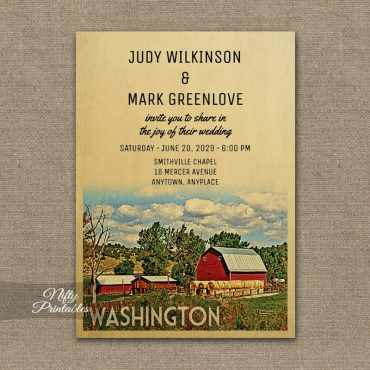 Washington Wedding Invitations Country Farm Barn PRINTED