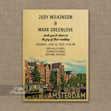 Amsterdam Wedding Invitation PRINTED