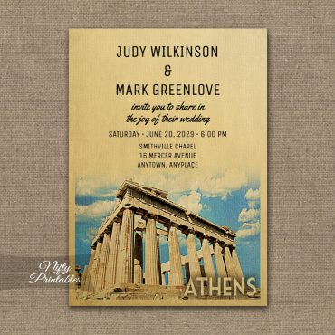 Athens Greece Wedding Invitation PRINTED