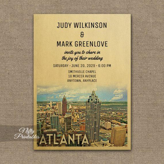 Atlanta Georgia Wedding Invitation PRINTED