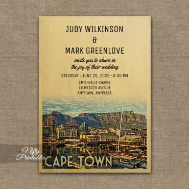 Cape Town Wedding Invitations PRINTED