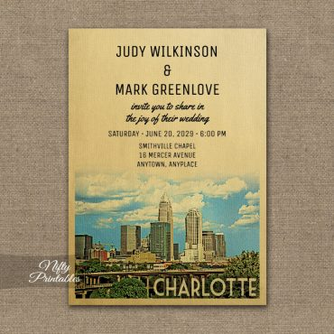 Charlotte North Carolina  Wedding Invitation PRINTED