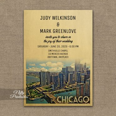 Chicago Illinois Wedding Invitation PRINTED