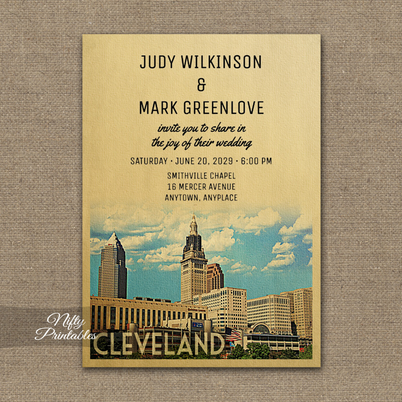 Cleveland Ohio Wedding Invitation PRINTED
