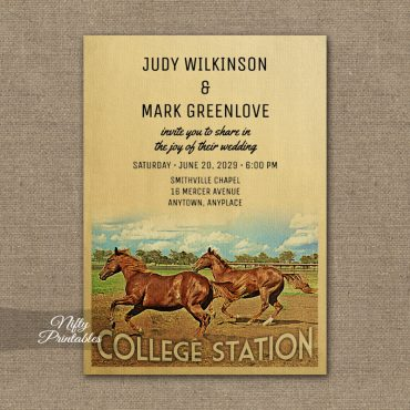 College Station Texas Wedding Invitation Horses PRINTED