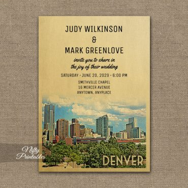 Denver Colorado Wedding Invitation PRINTED