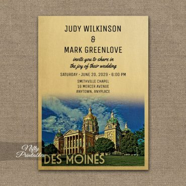 Des Moines Iowa Wedding Invitation PRINTED