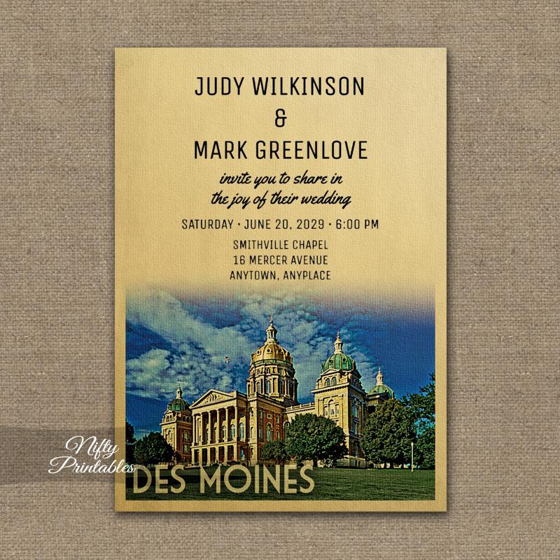 Des Moines Iowa Wedding Invitation PRINTED
