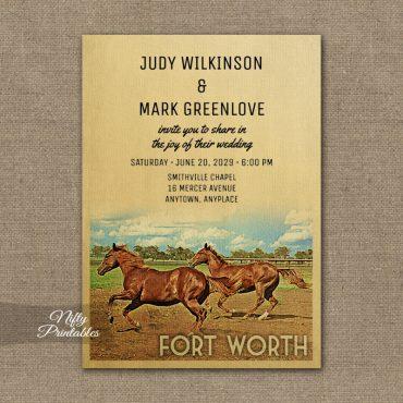 Fort Worth Texas Wedding Invitation Horses PRINTED
